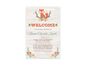 Cute Fox Woodland Baby Shower Poster