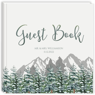 Snow Fir Trees Wedding Guest Book