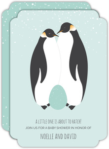 Snowy Penguin Couple Baby Shower Invitation