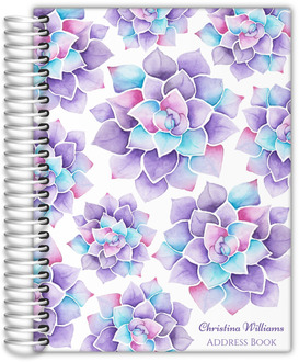 Lilac Watercolor Succulent Address Book