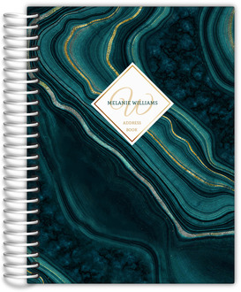 Turquoise & Faux Foil Geode Ink Art Address Book