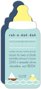 Bottle Rubber Ducky Sailboat Baby Shower Invitation