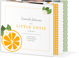 Orange Little Cutie Gender Neutral Baby Shower Invitation