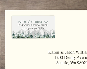Snow Fir Trees Custom Label