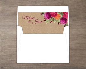 Rustic Kraft Watercolor Floral Envelope Liner