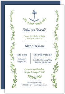Green Seaweed And Blue Anchor Baby Shower Invitation
