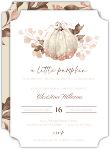 Faux Glitter Autumn Leaves Baby Shower Invitation