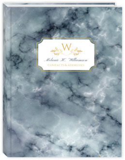 Elegant Fog Marble & Faux Gold Address Book