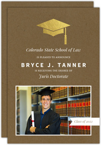 Gold Foil Grad Cap Law School Graduation Announcement