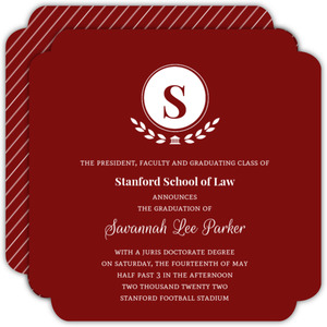 Red Elegant Laurel Wreath Monogram Law School Graduation Invitation