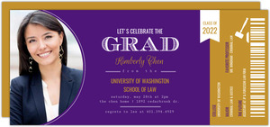 Ticket Stub Law School Graduation Invitation