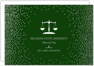 Silver Foil Confetti Frame Law School Graduation Invitation