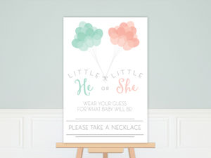 Mint & Peach Balloons Gender Reveal Poster