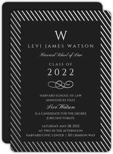 Silver Foil Stripe Frame Formal Law School Graduation Invitation