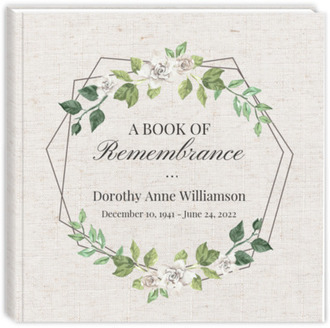 Double Hexagon Frame Sew Funeral Guest Book