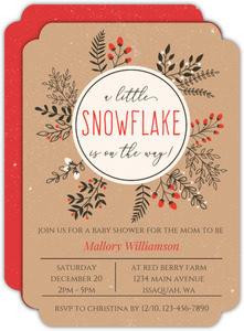 Winter Leaves And Berries Wreath Baby Shower Invitation