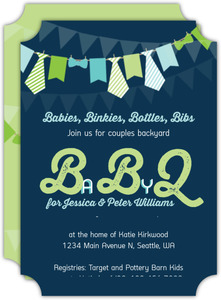 Cute Banner Flags Baby Shower Invitation
