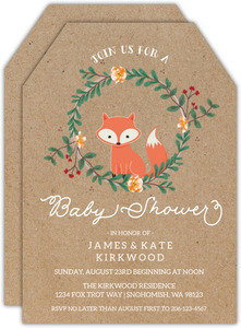 Kraft Paper Fox Couples Baby Shower Invitation