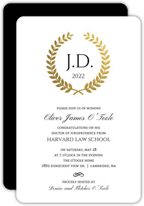 Gold Foil Formal Wreath Law School Graduation Invitation
