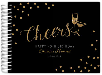 Faux Gold Glitter Cheers Birthday Guest Book