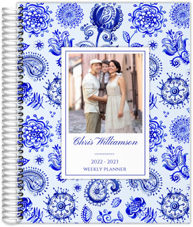 Royal Blue Watercolor Pattern Daily Planner