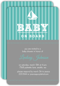 Stripe Sail Boat Neutral Baby Shower Invite