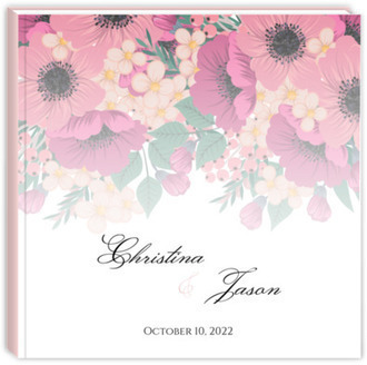 Blush Pink Anemones Wedding Guest Book