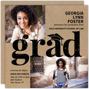Kraft Grunge Law School Graduation Invitation