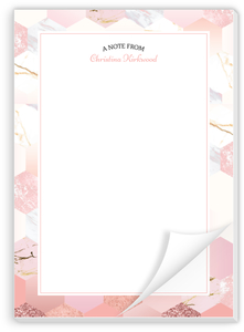 Marble Glitter Hexagon Custom Notepad