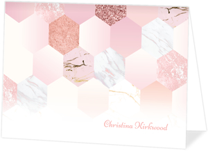 Marble Glitter Hexagon Custom Thank You Card