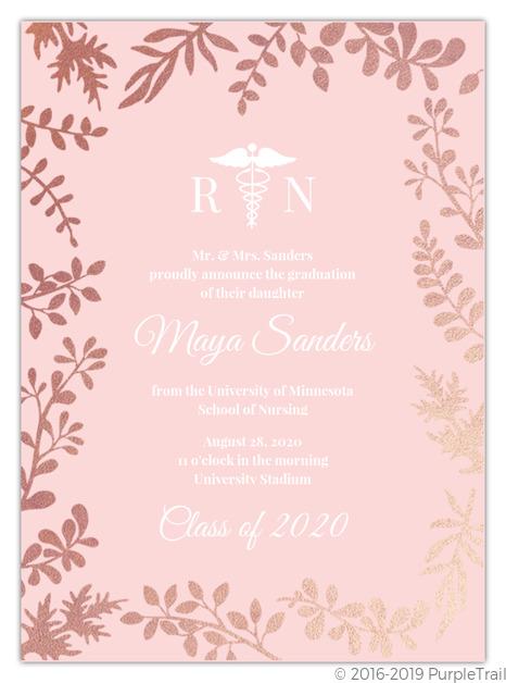 Pink gold foil foliage nursing school graduation invitation pink gold foil foliage nursing school graduation invitation filmwisefo