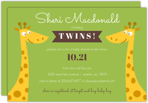 Yellow Giraffe Twin Shower Invitation