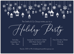 Blue Winter Wonderland Online Holiday Party Invitation