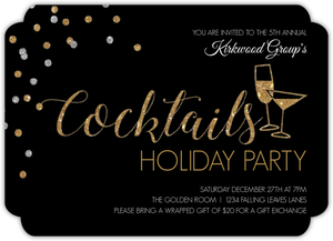 Elegant Cocktails Online Holiday Party Invitation