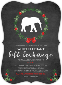 Festive White Elephant Online Holiday Party Invitation