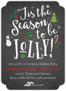 Chalkboard Jolly Cheer Online Holiday Party Invitation