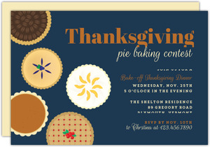 Baked Pie Contest Thanksgiving Dinner Printable Invitation