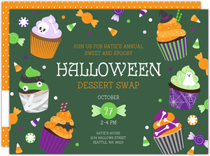 Spooky Cupcakes Halloween Dessert Party Printable Invitation