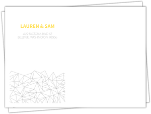 Gray And Yellow Faceted Geometric Pattern Envelope