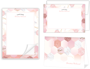 Marble Glitter Hexagon Stationery Set
