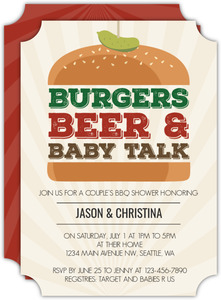 Burgers Beer & Baby Talk Baby Shower Invitation