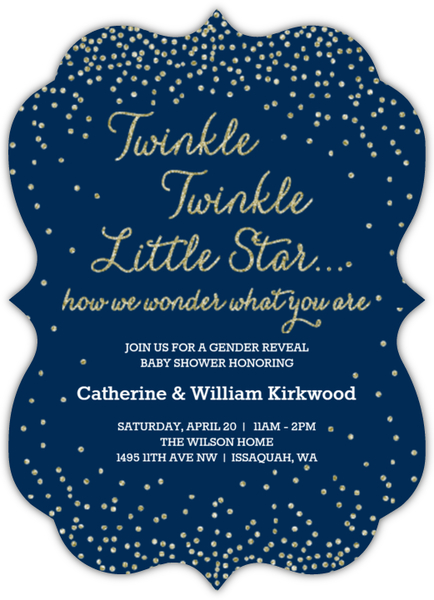 twinkling stars gender reveal baby shower invitation