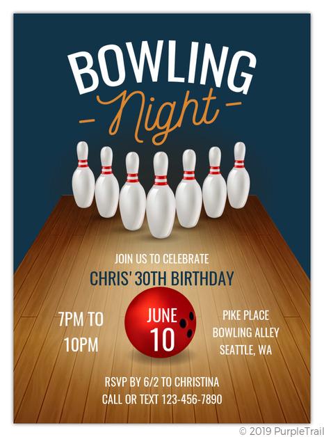 bowling lane printable bowling birthday invitation