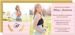 Pretty in Pink Gold Foil Dental School Graduation Invitation
