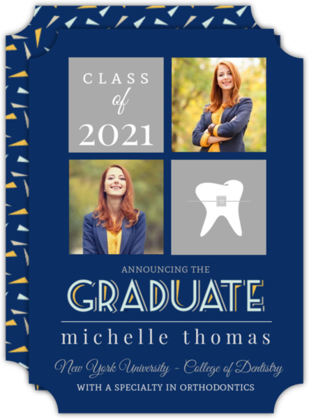 Modern Gray and Blue Dentist Graduation Invitation
