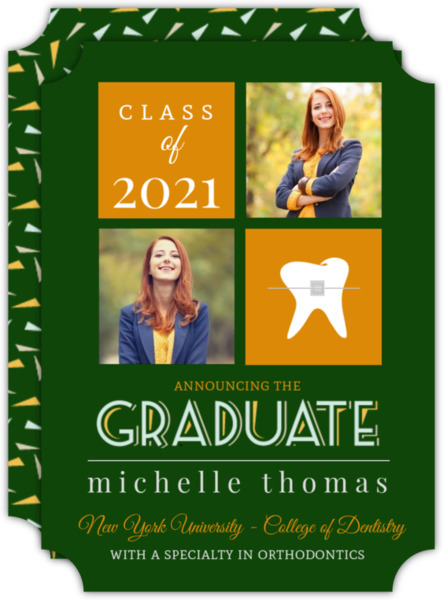 Modern Gray and Blue Dentist Graduation Invitation