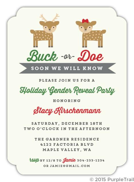 Buck Or Doe Gender Neutral Baby Shower Invitation