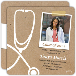 Fun Kraft Stethoscope Nursing School Graduation Announcement