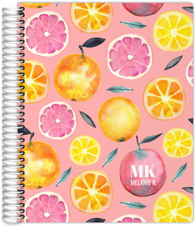 Fresh Citrus Watercolor Pattern Recipe Journal 8.5x11