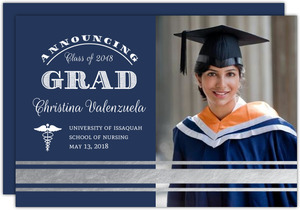 Navy Blue & Silver Foil Chevron Nursing School Graduation Announcement